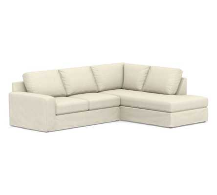 Big Sur Square Arm Slipcovered Left Loveseat Return Bumper Sectional, Down Blend Wrapped Cushions, Basketweave Slub Oatmeal - Pottery Barn