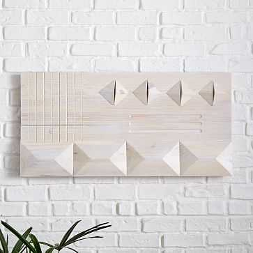 Carved Wood Wall Art, Panel 3, Natural, Wood, Large - West Elm