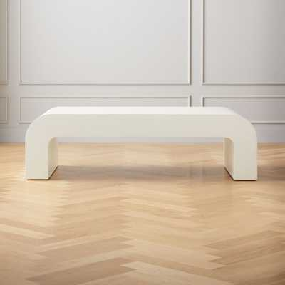 Horseshoe Ivory Lacquered Linen Rectangular Coffee Table - CB2