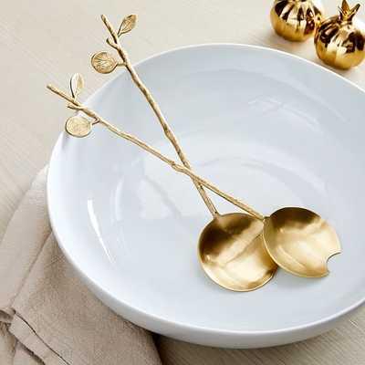Botanical Serve Utensils, Servers, Brass, Brass, Set of 2 - West Elm