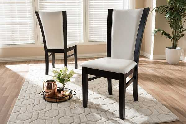 Baxton Studio Adley Modern and Contemporary Dark Brown Finished White Faux Leather Dining Chair (Set of 2) - Lark Interiors