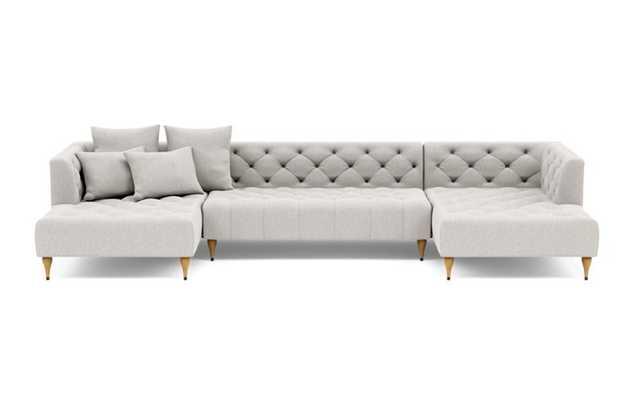 Ms. Chesterfield U-Sectional with Beige Pebble Fabric and Natural Oak with Antique Cap legs - Interior Define