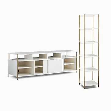 "Zane 68"" Media Console & 2 Narrow Bookshelves Set - West Elm"