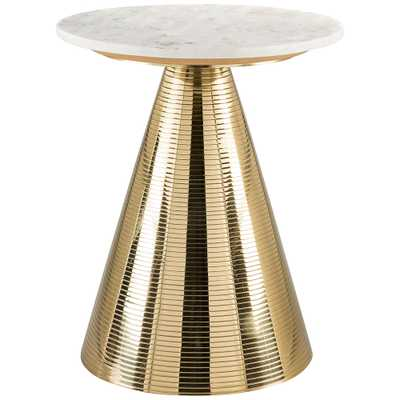 """Zuo Pure 16"""" Wide White Marble and Gold Side Table - Style # 83J34 - Lamps Plus"""