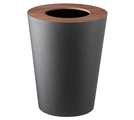 Yamazaki Round Wood Rim 1.8 Gallon Trash Can, Black - Pottery Barn