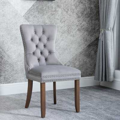 Solid Wood Upholstered Grey Dining Chair (2 PCS) - Wayfair