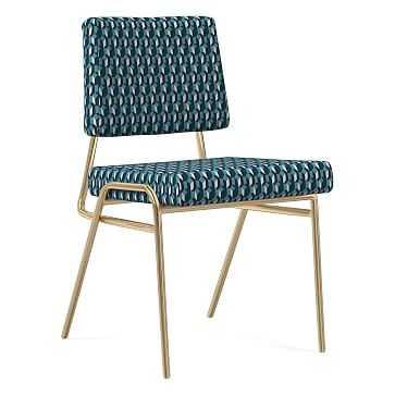 Wire Frame Dining Chair, Block Geo, Blue teal, Antique Brass - West Elm