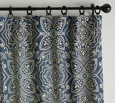 "Emina Print Curtain, Blue Multi, 96 x 50"" cotton lining - Pottery Barn"