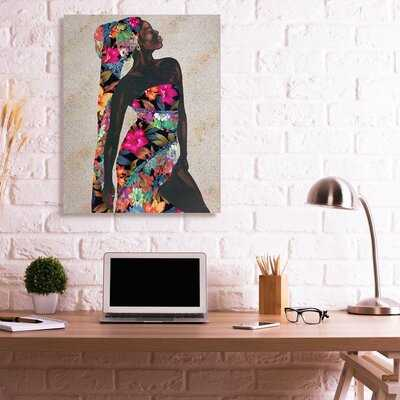 Elegant Female Tropical Floral Dress Strength Pose by Alonzo Saunders - Graphic Art - Wayfair