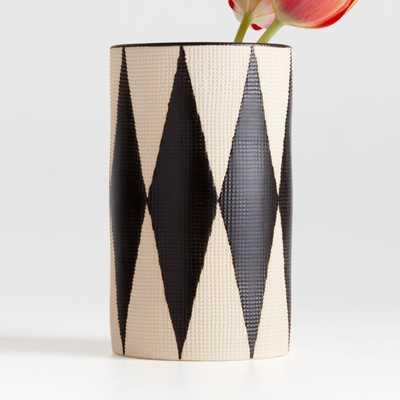 Anvers Black Diamond Medium Vase - Crate and Barrel