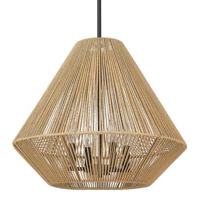 Golden Lighting Valentina 4-Light Matte Black Lantern Pendant with Natural Raphia Rope Shade - Home Depot