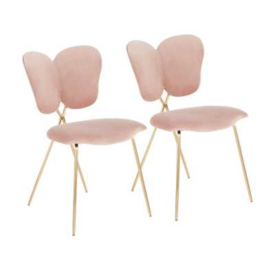 Lumisource Madeline Chair in Blush Pink Velvet and Gold (Set of 2) - Home Depot