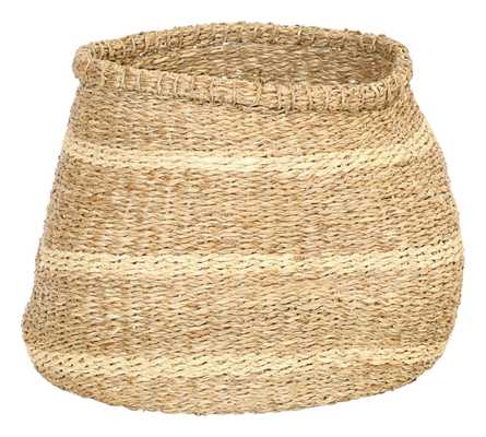 "15""R Handwoven Seagrass Basket with Stripes - Moss & Wilder"