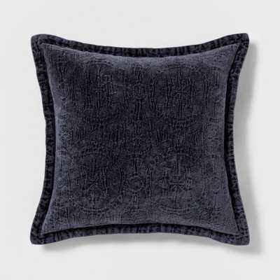 Washed Chenille Square Pillow Navy - Threshold - Target