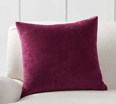 "Velvet w/ Linen Pillow Cover, 20"", Bordeaux - Pottery Barn"