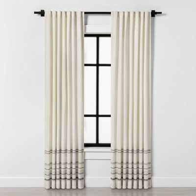 "84"" Curtain Panel Engineered Hem Stripe Gray / Sour Cream - Hearth & Hand with Magnolia - Target"