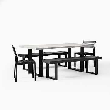 """Concrete Dining Table 72"""" Rectangle Concrete Top + Aluminum Base Set- Table + 2 Benches + 2 Aluminum Chairs - West Elm"""