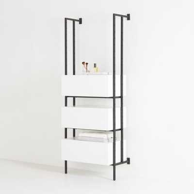 Flex White 3-Drawer Bookcase - Crate and Barrel