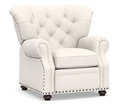 Lansing Upholstered Recliner, Polyester Wrapped Cushions, Performance Chateau Basketweave Ivory - Pottery Barn