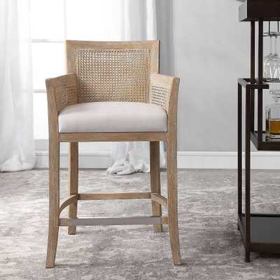 "Uttermost Encore 26"" Natural Wood and Rattan Counter Stool - Style # 78C87 - Lamps Plus"