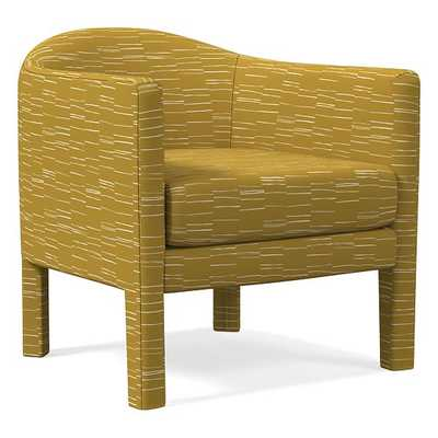 Isabella Fully Upholstered Chair, Fragmented Stripe, Dark Horseradish - West Elm