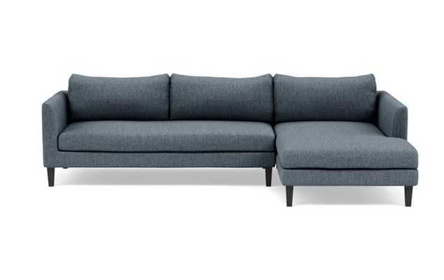 Owens Right Sectional with Blue Rain Fabric, extended chaise, and Painted Black legs - Interior Define