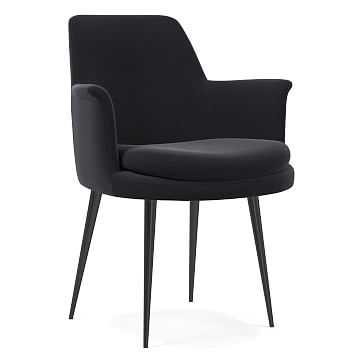 Finley Wing Dining Chair, Performance Velvet, Shadow, Gunmetal - West Elm