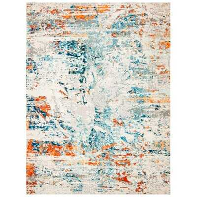 Gutierez Abstract Cream/Orange/Blue Rug - Wayfair