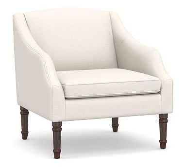 SoMa Emma Upholstered Armchair, Polyester Wrapped Cushions, Performance Chateau Basketweave Ivory - Pottery Barn