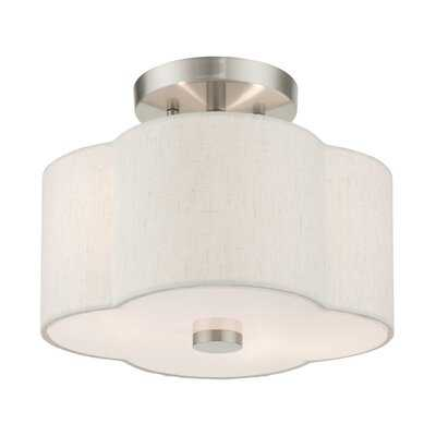 2 - Light 11'' Shaded Semi Flush Mount - Wayfair
