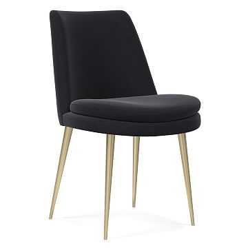Finley Low Back Dining Chair, Performance Velvet, Shadow, Light Bronze - West Elm