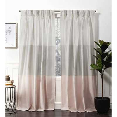"""96"""" Chateau Striped Faux Silk Pinch Pleat Light Filtering Curtain Panel Pair Blush - Exclusive Home, Size: 96"""" - Target"""