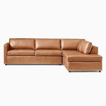 Harris Sectional Set 10: LA Large Sectional, LA Terminal Chaise, Vegan Leather, Saddle, Concealed Support, Poly - West Elm