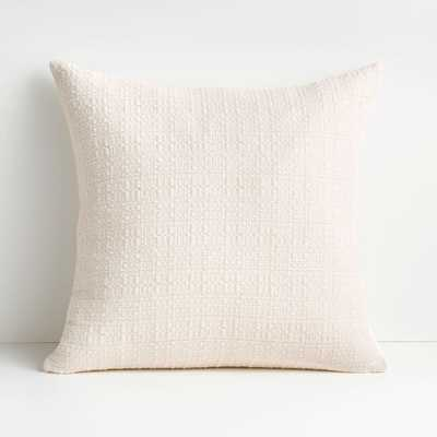 """Bari 20"""" White Swan Knitted Pillow with Down-Alternative Insert - Crate and Barrel"""