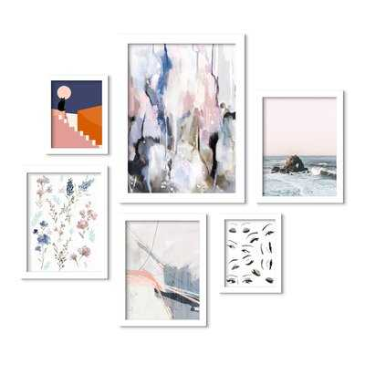 Contemporary Eyes Ocean Botanical Abstract Art - 6 Piece Picture Frame Print Set on Paper - Wayfair