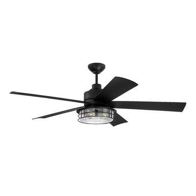 "56"" Eduardo 5 - Blade Outdoor LED Standard Ceiling Fan with Remote Control and Light Kit Included - Birch Lane"