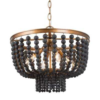 4 - Light Unique Chandelier with Beaded Accents - Wayfair