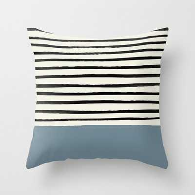 """Dusty Blue X Stripes Couch Throw Pillow by Leah Flores - Cover (20"""" x 20"""") with pillow insert - Indoor Pillow - Society6"""