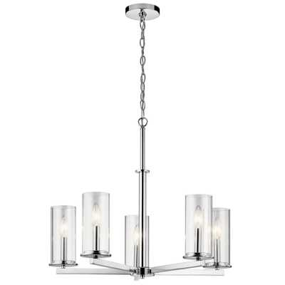 KICHLER Crosby 5-Light Chrome Chandelier with Clear Glass Shade - Home Depot