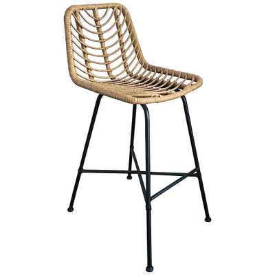 Zuo Malaga Natural Woven Outdoor Bar Chair - Style # 83J70 - Lamps Plus