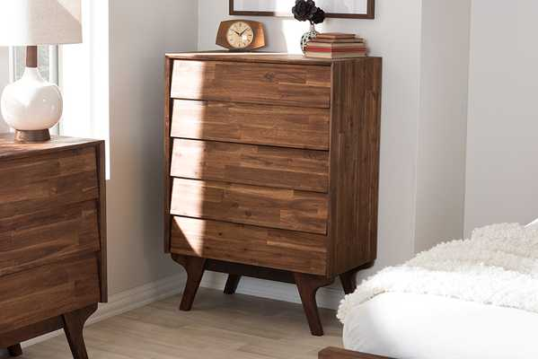 Baxton Studio Sierra Mid-Century Modern Brown Wood 5-Drawer Chest - Lark Interiors
