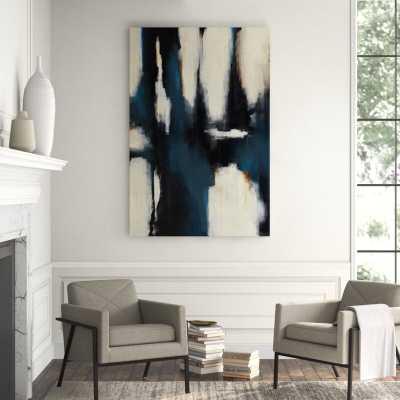 "Chelsea Art Studio 'Blue Curtain' Graphic Art Print Format: Glass Coat, Size: 60"" H x 40"" W - Perigold"