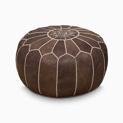 """Leather Moroccan Pouf, 20""""x14"""", Musk - West Elm"""
