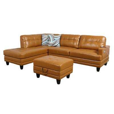 "Jiuliana 96"" Wide Faux leather Corner Sectional with Ottoman - Wayfair"
