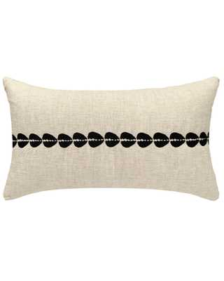 cowrie embroidered lumbar pillow cover in natural - PillowPia