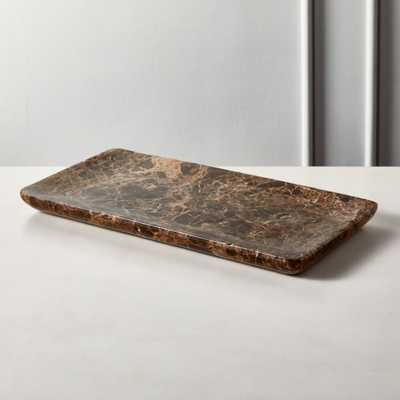 Charlemagne Brown Marble Tank Tray - CB2
