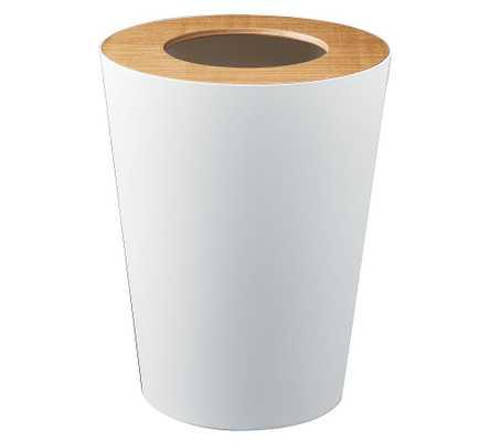 Yamazaki Round Wood Rim 1.8 Gallon Trash Can, White - Pottery Barn