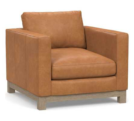 Jake Leather Armchair with Wood Legs, Down Blend Wrapped Cushions Churchfield Camel - Pottery Barn