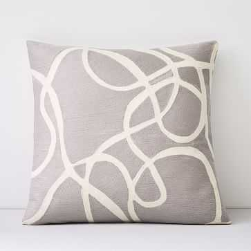 """Crewel Rope Pillow Cover, Frost Gray, 18""""x18"""" - West Elm"""