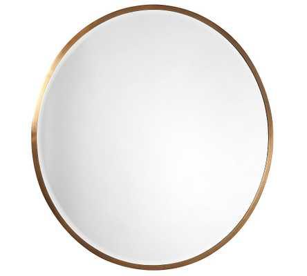 "Layne Oversized Round Wall Mirror, Brass - 49"" - Pottery Barn"
